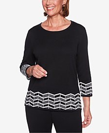 Alfred Dunner Petite Sutton Place Zigzag Border Sweater