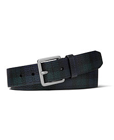Michael Kors Men's Plaid Leather Belt