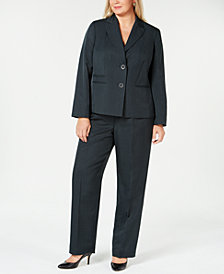 Le Suit Plus Size Two-Button Striped Pantsuit