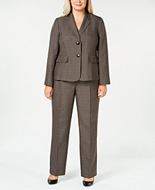 Le Suit Plus Size Two-Button Melange Pantsuit