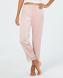 I.N.C. Lace-Trim Printed Velvet Pajama Pants, Created for Macy's