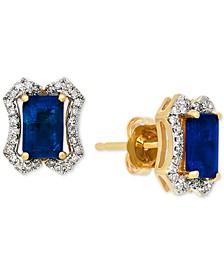 Sapphire (1-3/8 ct. t.w.) & Diamond (1/6 ct. t.w.) Stud Earrings in 14k Gold