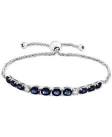 EFFY® Sapphire (3-5/8 ct.t.w.) & Diamond (1/5 ct.t.w.) Bolo Bracelet in 14k White Gold