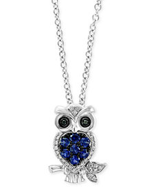 "EFFY® Sapphire (1/4 ct. t.w.) & Diamond Accent 18"" Pendant Necklace in 14k White Gold"