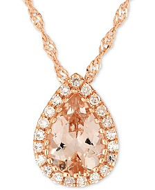 "Morganite (5/8 ct. t.w.) & Diamond Accent Pendant Necklace in 14k Rose Gold, 16"" + 2"" extender"