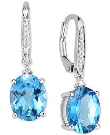 Blue Topaz (5-1/2 ct. t.w.) & Diamond Accent Drop Earrings in 14k White Gold
