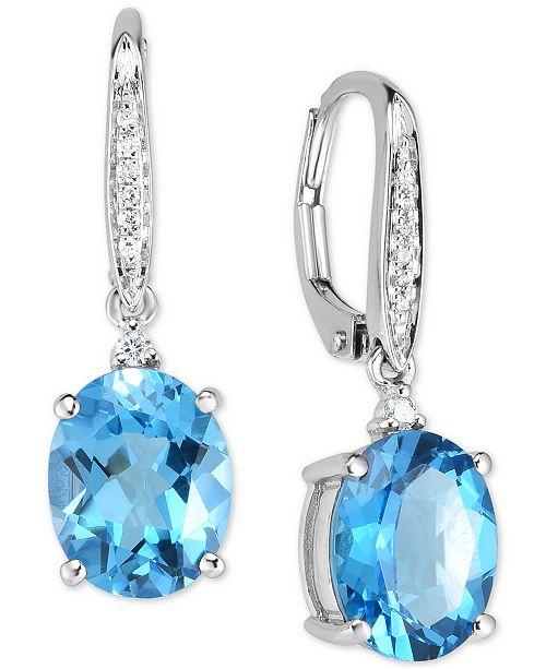 Blue Topaz 5 1 2 Ct T W Diamond Accent Drop Earrings In 14k White Gold