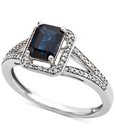 Sapphire (9/10 ct. t.w.) & Diamond (1/6 ct. t.w.) Ring in 14k White Gold (Also Available in Emerald)