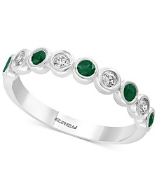 EFFY® Emerald (1/4 ct.t.w.) & Diamond (1/6 ct.t.w.) in 14k White Gold, Also available in Sapphire and Certified Ruby