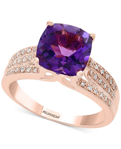 EFFY Collection Amethyst (3-1/10 ct. t.w.) & Diamond (1/8 ct. t.w.) Ring in 14k Rose Gold