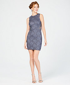 City Studios Juniors' Embellished Lace Bodycon Dress, Created for Macy's
