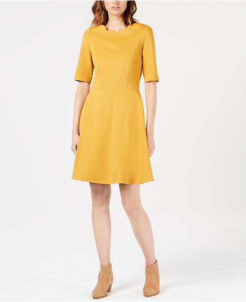 Petite Scalloped-Neck Fit & Flare Dress, Created for Macy's