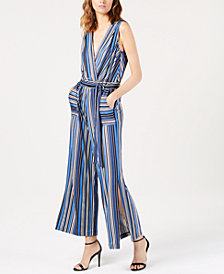 Monteau Petite Striped Wide-Leg Jumpsuit, Created for Macy's
