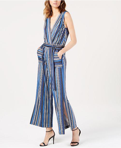 f3ffccb4d4ef Monteau Petite Striped Wide-Leg Jumpsuit