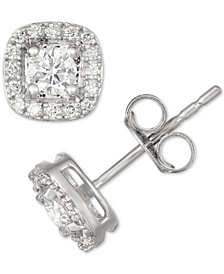 Diamond Halo Cluster Stud Earrings (3/8 ct. t.w.) in 14k White Gold