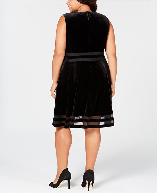 Calvin Klein Plus Size Velvet Illusion A Line Dress Created For