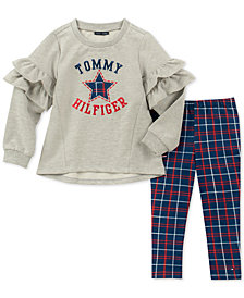 Tommy Hilfiger Little Girls 2-Pc. Ruffle Sweatshirt & Plaid Leggings Set