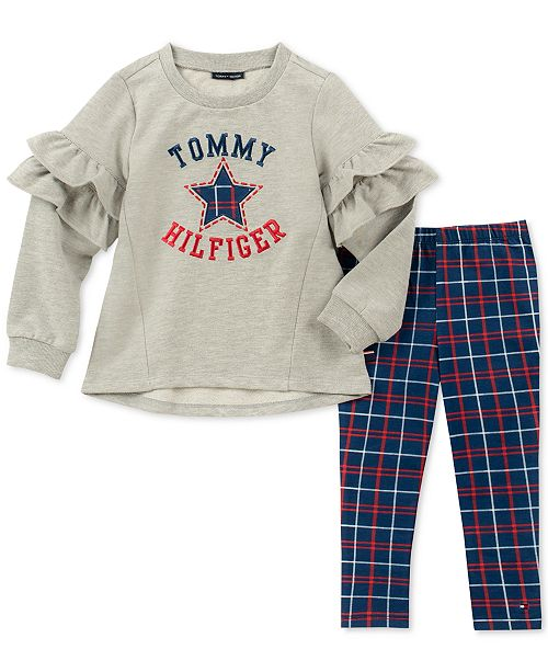 1ef5ffdb3 Tommy Hilfiger Toddler Girls 2-Pc. Ruffle Embroidered Top   Leggings ...