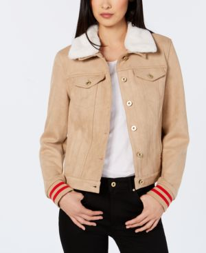 Tommy Hilfiger Varsity-Stripe Faux-Suede Jacket, Created for Macy's