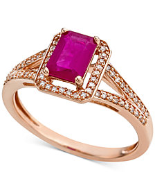 Certified Ruby (9/10 ct.t.w.) & Diamond (1/6 ct. t.w.) Ring in 14k Rose Gold