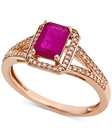 Ruby (9/10 ct. t.w.) & Diamond (1/6 ct. t.w.) Ring in 14k Rose Gold