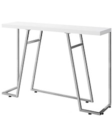 """Monarch Specialties Chrome Metal 48""""L Console Accent Table in Glossy White"""