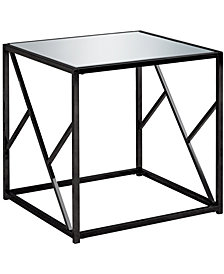 Monarch Specialties Mirror Top End Table in Black Nickel