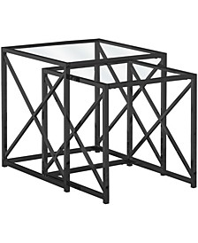 Nick Metal Tempered 2Pcs  Nesting Table in Black