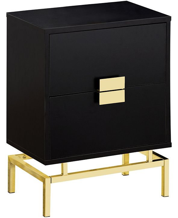 "Monarch Specialties Gold Metal 25""H Side Night Stand Accent Table in Cappuccino"