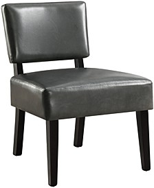 Leather Finish  Accent Chair in Charcoal Grey