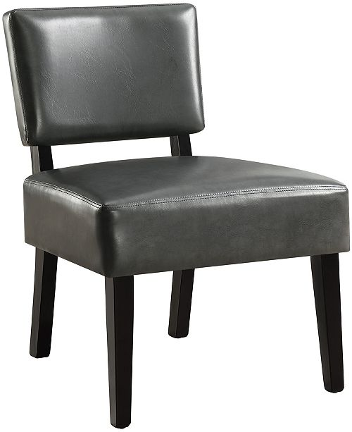 Monarch Specialties Leather Finish  Accent Chair in Charcoal Grey