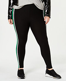 Planet Gold Trendy Plus Size Striped Leggings