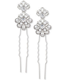Marchesa Silver-Tone 2-Pc. Set Crystal Floral Cluster Hair Pins