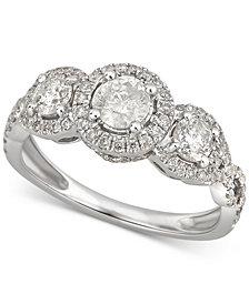 Diamond Triple Halo Ring (1-1/10 ct. t.w) in 14k White Gold