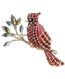 Gold-Tone Crystal Multicolor Cardinal Pin, Created for Macy's