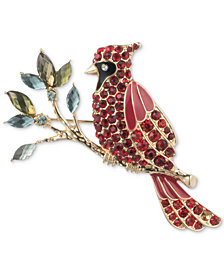 Anne Klein Gold-Tone Crystal Multicolor Cardinal Pin, Created for Macy's