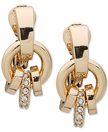 Anne Klein Gold-Tone Pavé Ring E-Z Comfort Clip-On Drop Earrings