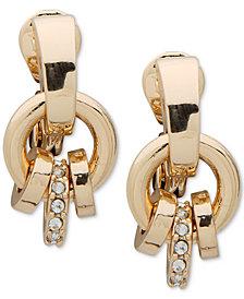 Anne Klein Gold-Tone Pavé Ring E-Z Comfort Clip-On Drop Earrings