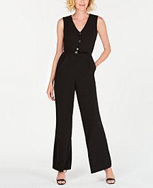 Calvin Klein Belted Button-Up Jumpsuit