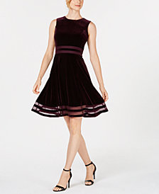 Calvin Klein Petite Velvet Illusion Fit & Flare Dress