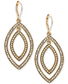 Anne Klein Gold-Tone Pavé & Imitation Pearl Orbital Drop Earrings