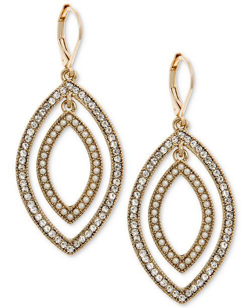 41de23dda ... Earrings; Anne Klein Gold-Tone Pavé & Imitation Pearl Orbital ...