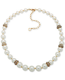 "Anne Klein Gold-Tone Pavé Bead & Imitation Pearl Collar Necklace, 16"" + 3"" extender"