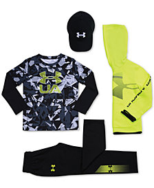 Under Armour Little Boys Cap, Logo Hoodie, Layered-Look T-Shirt & Pants