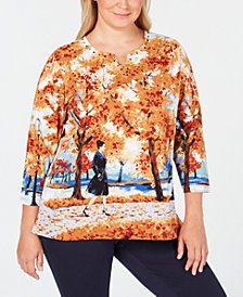 Alfred Dunner Plus Size Classics Scenic-Print Embellished Top