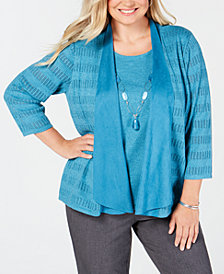 Alfred Dunner Plus Size Victoria Falls Layered-Look Necklace Sweater