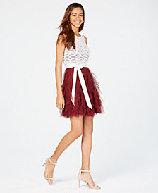 Teeze Me Juniors' Lace Ruffled Dress, A Macy's Exclusive