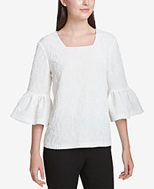Calvin Klein Square-Neck Bell-Sleeve Top