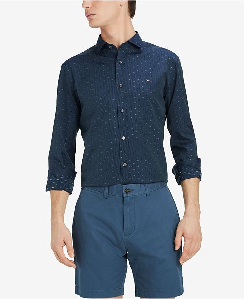 Tommy Hilfiger Men s Classic Fit Ashburn Dobby Shirt, Created for ... d9c2217911
