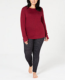 Cuddl Duds Plus Size Soft-Knit Crew-Neck Top & Leggings